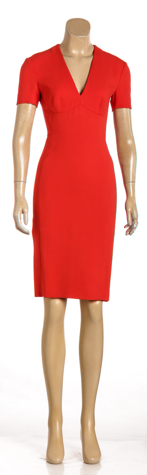 Stella McCartney Orange Crepe Short Sleeve V-Neck Dress (Size 38)