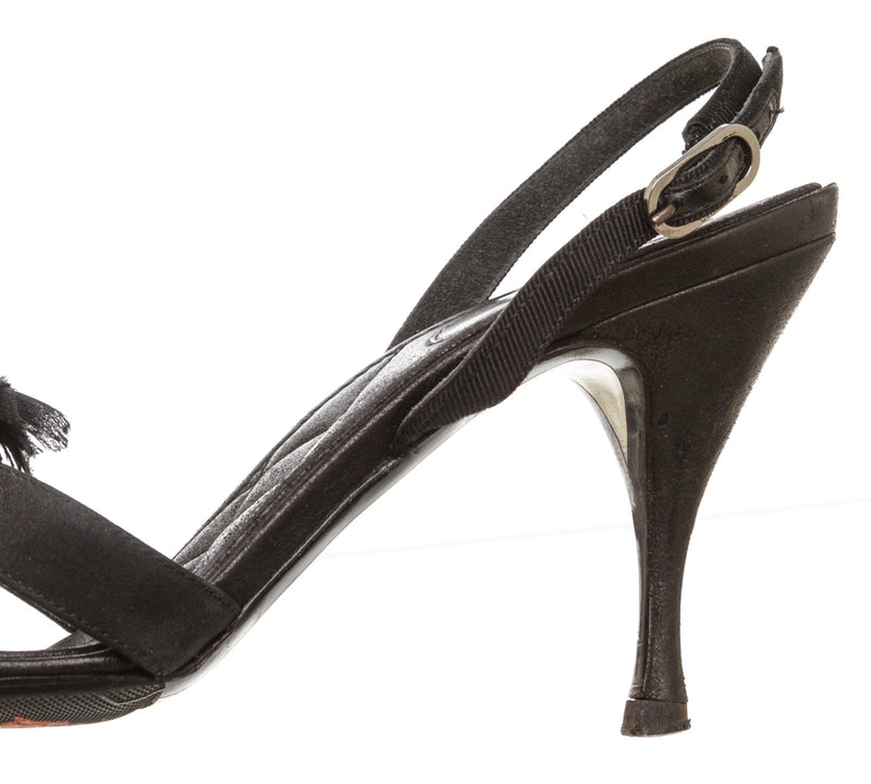 Chanel Black Grosgrain Camellia and Ribbon Sandals (Size 36.5)