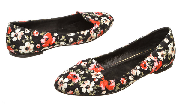 Dolce & Gabbana Black Quilted Floral Flats (Size 38.5)