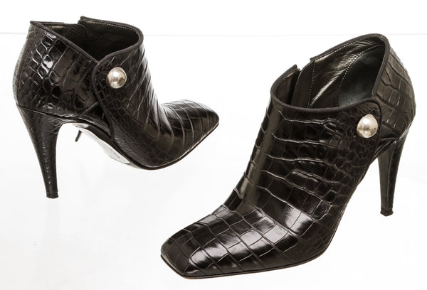 Sergio Rossi Black Croc-Stamped Leather Ankle Boots (Size 37)
