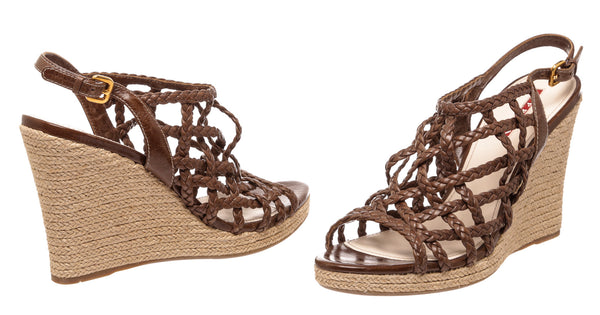 Prada Brown Leather Espadrille Wedges (Size 40)