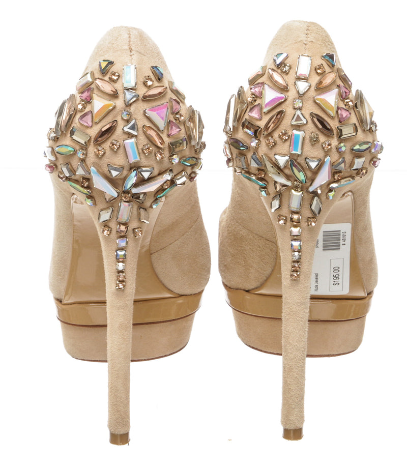 Brian Atwood Nude Suede Ferranta Jeweled Pumps (Size 7)