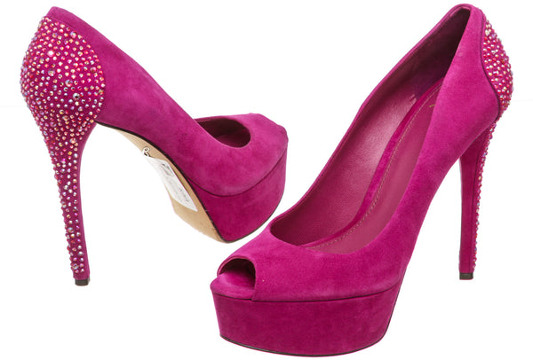 B. Brian Atwood Magenta Suede 'Baccina' Pump (Size 9.5)