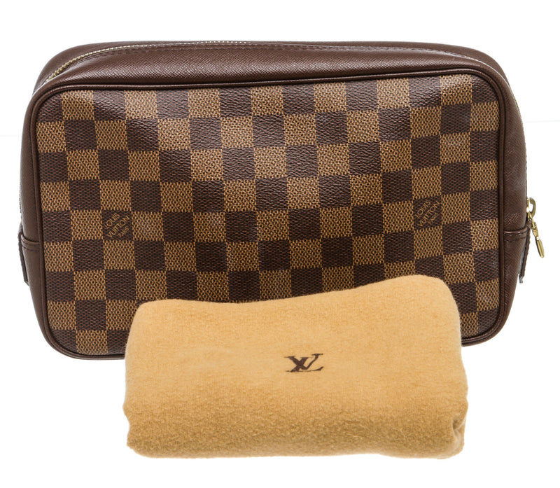 Louis Vuitton Brown Damier Ebene Trousse 25 Toilette Toiletry Bag