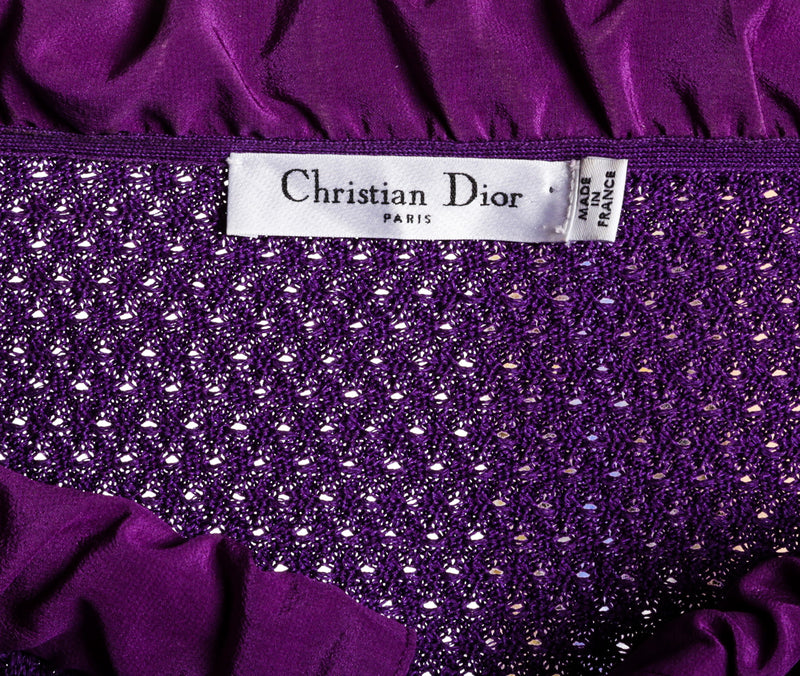Christian Dior Purple Cotton Knit Long Sleeve Cardigan (Size 6)