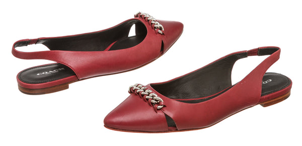 Coach Red Leather Rodney Pointed Toe Slingback Flats (Size 8.5)
