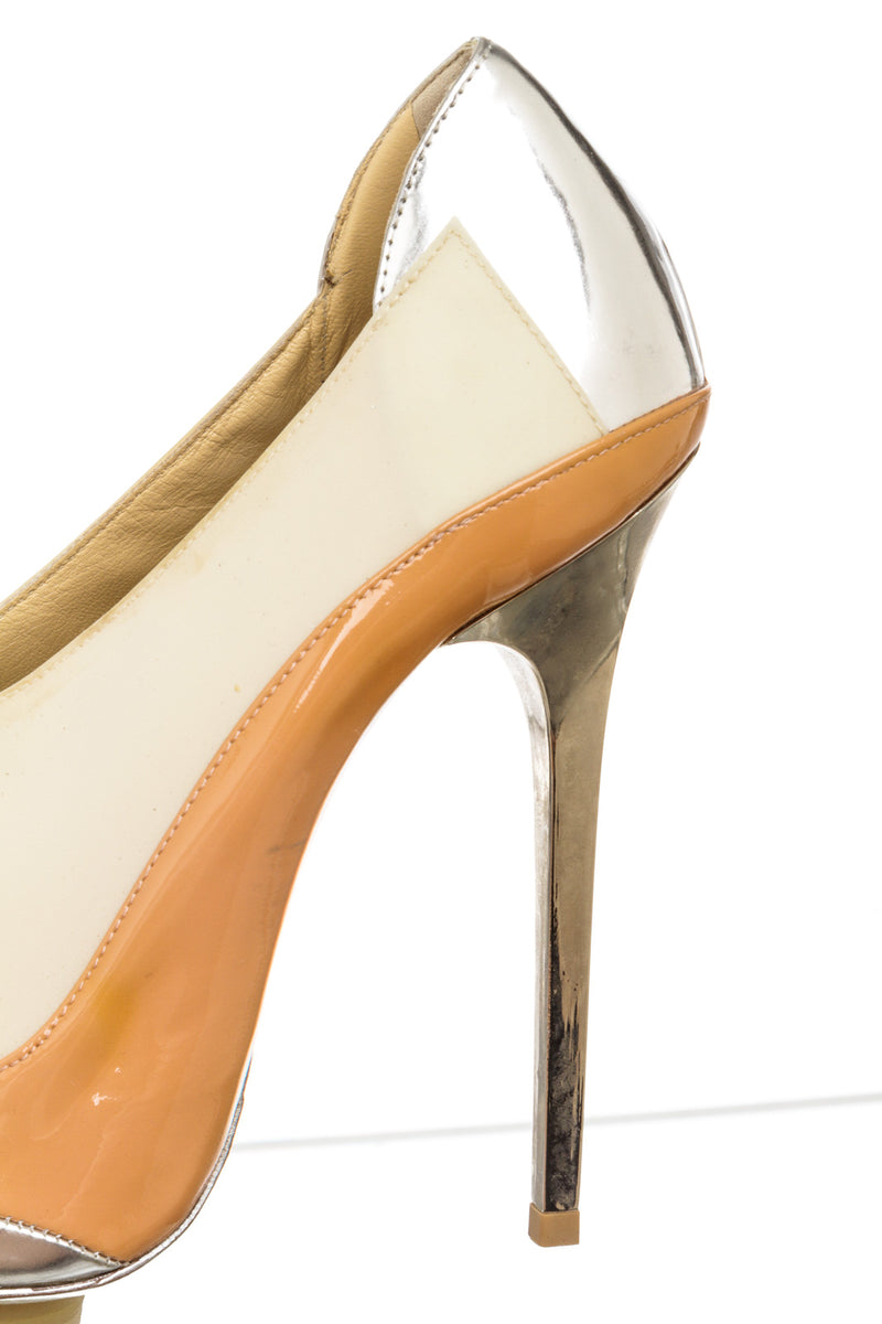 Balenciaga Peach, Champagne and Silver Patent Pointed Toe Pump (Size 38)