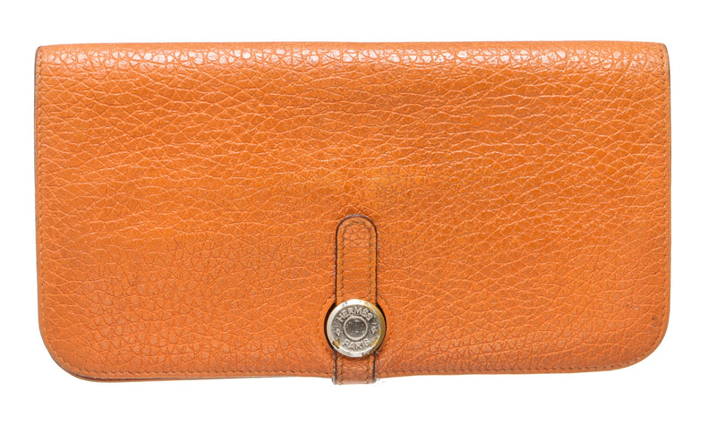 Hermes Orange Clemence Dogon Wallet GHW