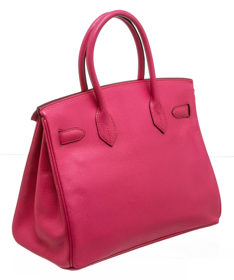 Hermes Rose Shocking Chevre Mysore Birkin 30cm Bag SHW