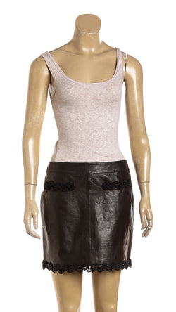 Chanel Black Leather Skirt (Size 38)