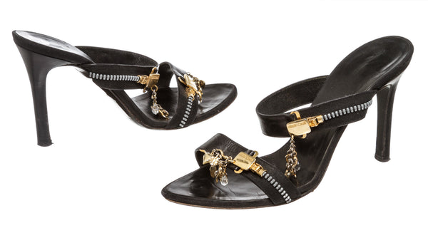Roberto Cavalli Black Leather Zipper Charm Sandals (Size 38)