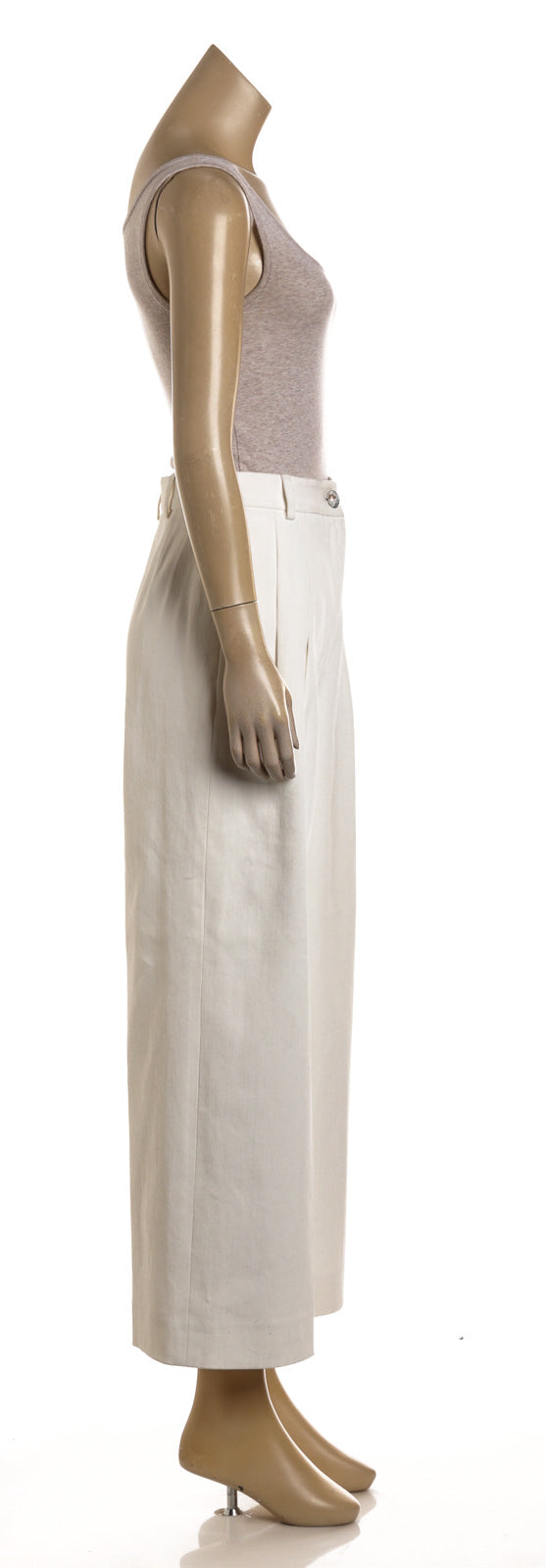 Chanel White Denim Wide Leg Pants (Size 38)