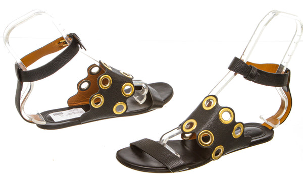 Chloe Black Leather Grommet Ankle Wrap Sandals (Size 38.5)