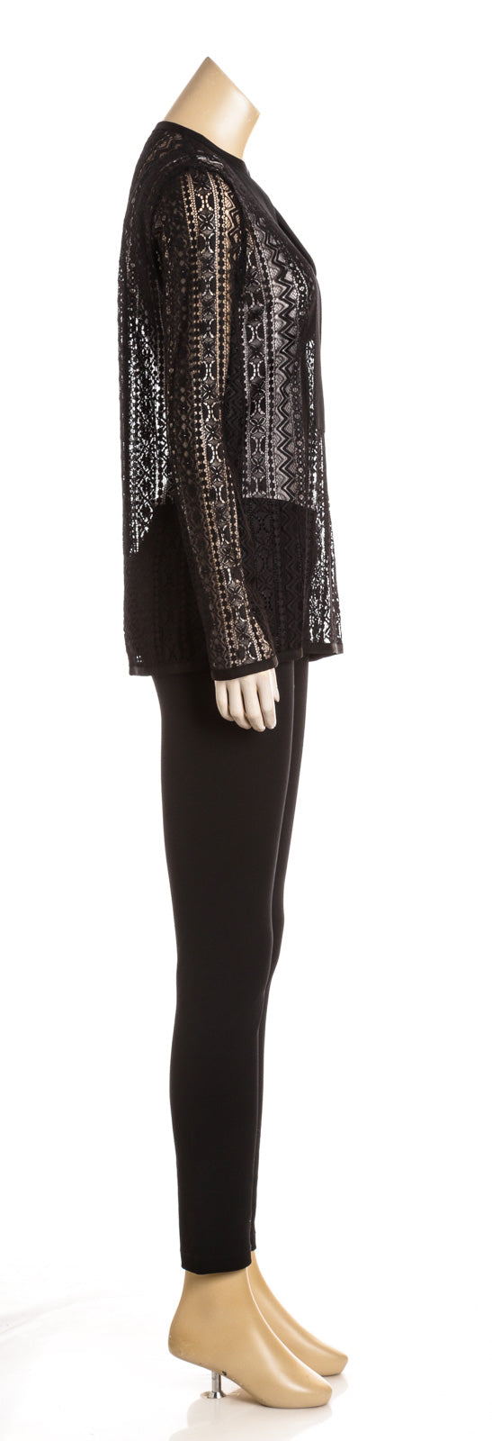Lanvin Black Long Sleeve Lace Tunic Top (Size 36)