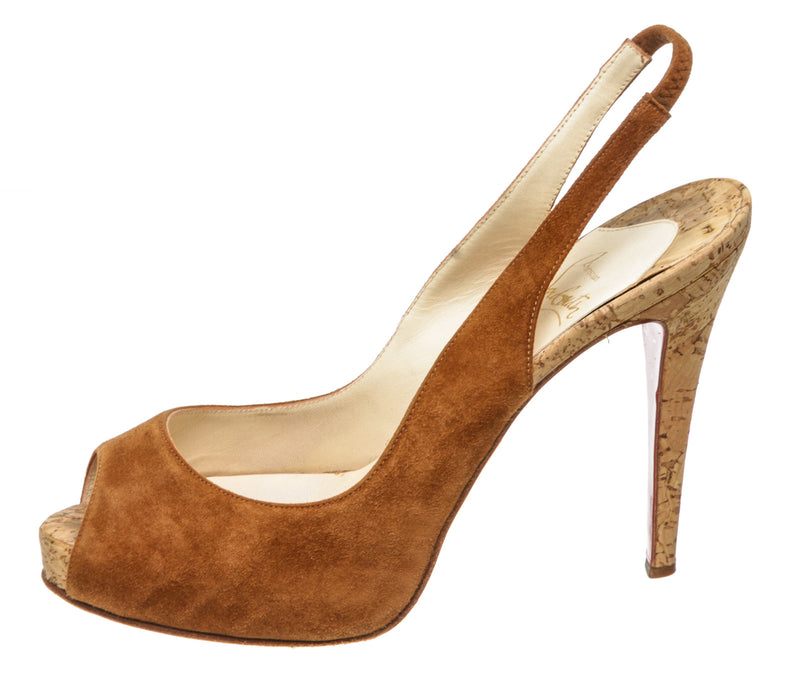 Christian Louboutin Brown Suede and Cork Slingback Peep-Toe Pump (Size 38.5)