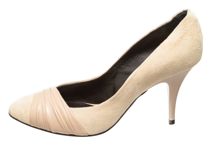 Giuseppe Zanotti Nude Suede and Leather Pumps (Size 37.5)