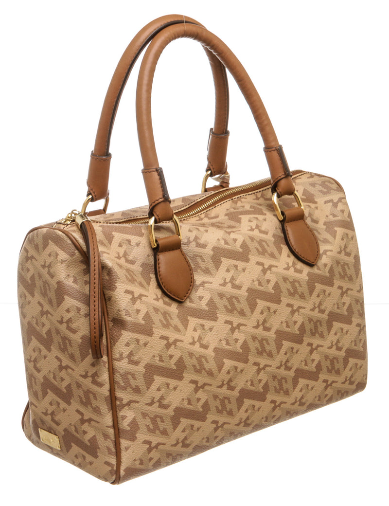 Escada Brown and Tan Coated Canvas Print Boston Bag