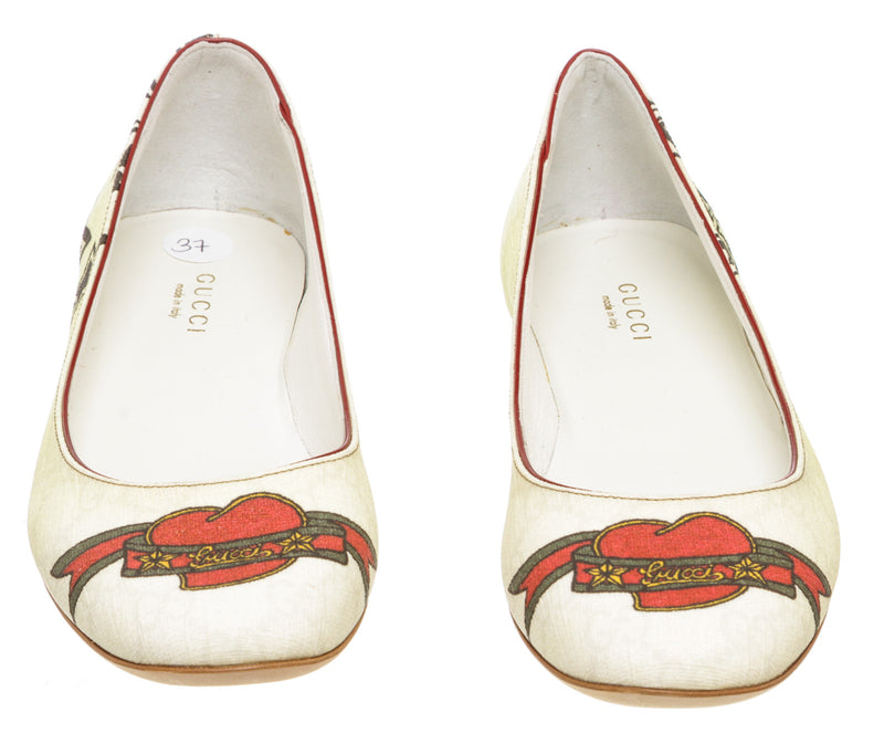 Gucci White Monogram Coated Canvas Tattoo Heart Flats (Size 37)