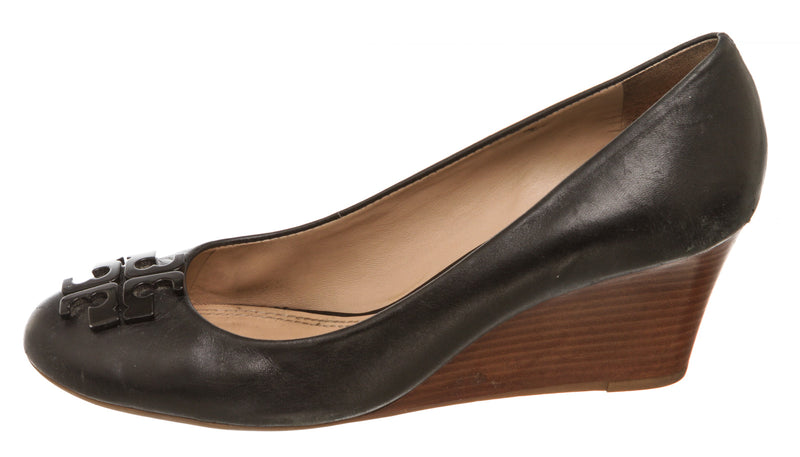 Tory Burch Black Leather Lowell Wedge Pump (Size 9)