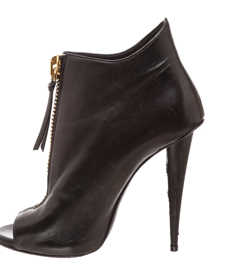 Giuseppe Zanotti Black Leather Nubuck Peep Toe Booties (Size 38.5)