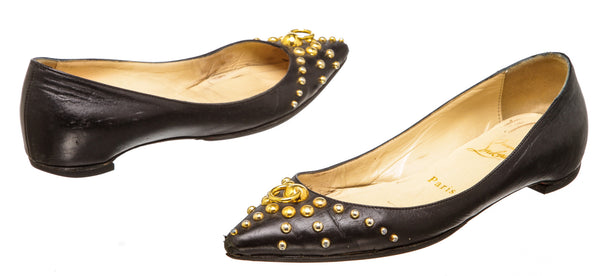 Christian Louboutin Black Leather Door Knock Flats (Size 35.5)