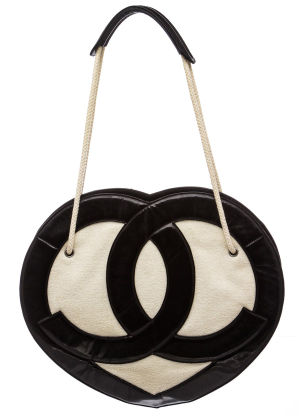 Chanel Black and Cream Terry Cloth Heart Tote Bag