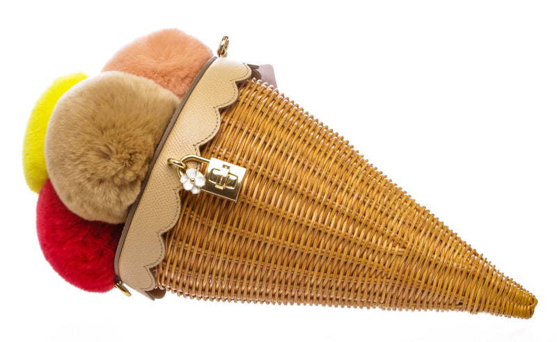 Dolce and Gabbana Fur and Rattan Ice Cream Cone Bag