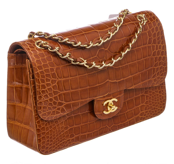 Chanel Brown Alligator Classic Double Flap Jumbo GHW Bag