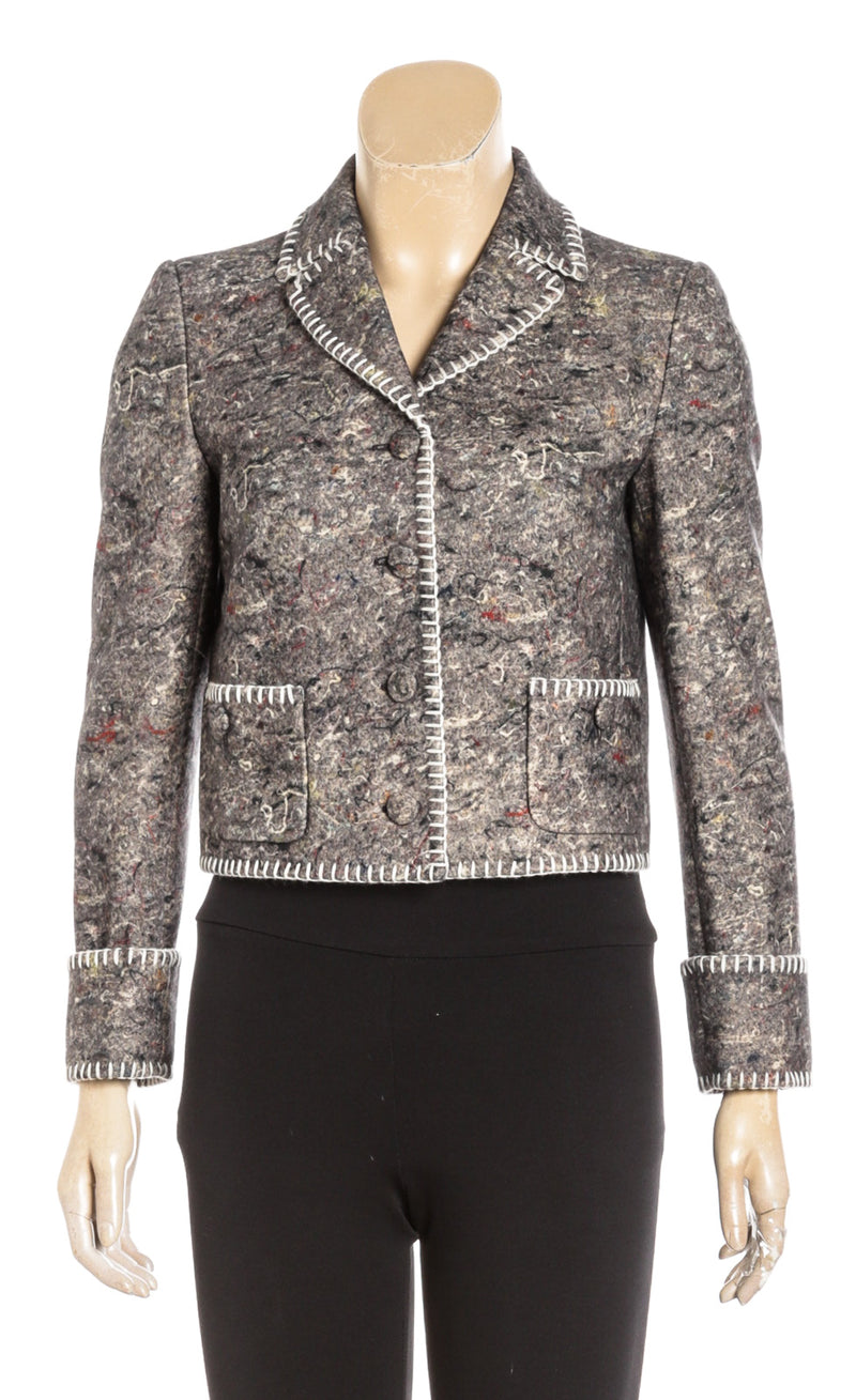 Moschino Couture Gray Long Sleeve Wool Cropped Jacket (Size 4)