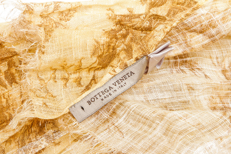 Bottega Veneta Tan Linen Graphic Woven Scarf