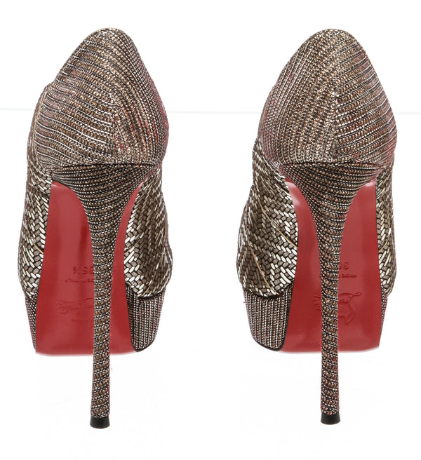 Christian Louboutin Gray Torsatoe Scallop Platform Red Sole Pump (Size 36.5)