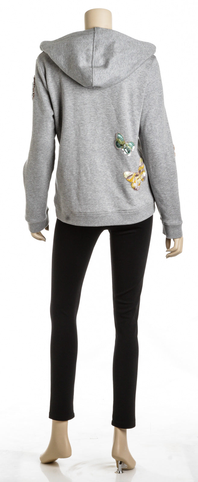 Valentino Gray Cotton Butterfly Applique Sequin Hoodie (Size M)
