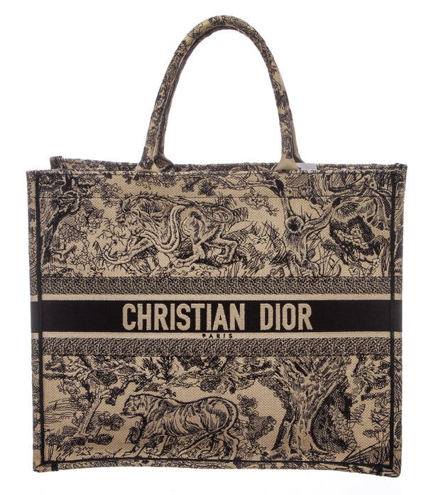 Christian Dior Blue Embroidered 'Toile De Jouy' Book Tote