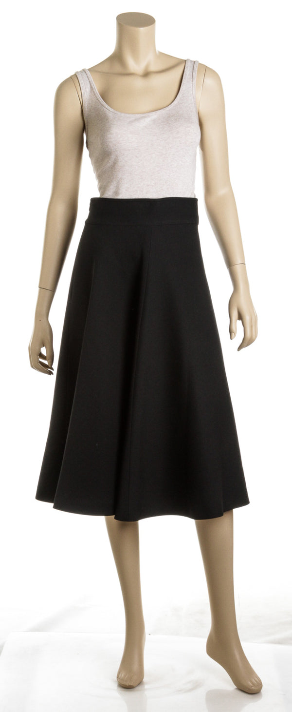 Christian Dior Black Silk and Wool Blend A-Line Midi Skirt (Size 6)