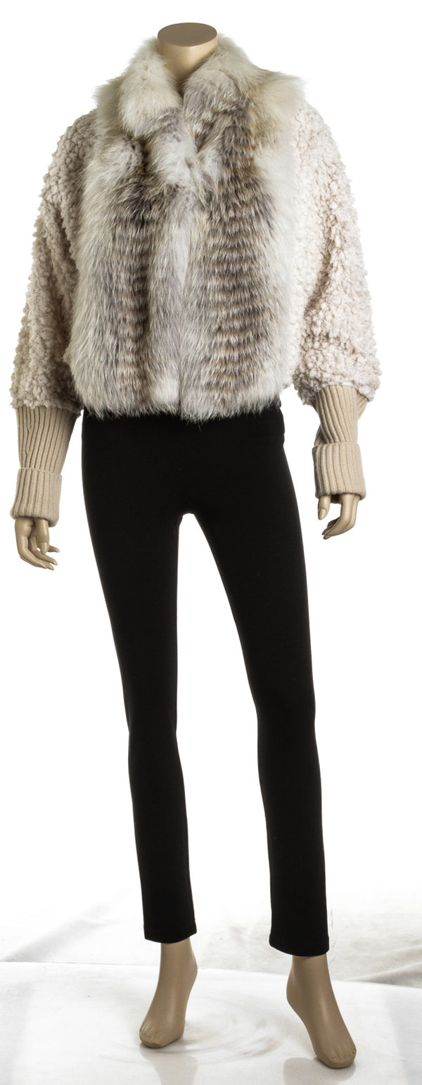 Fendi Cream Natural Fur and Knit Copped Jacket (Size 42)