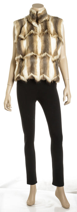 Fendi Cream and Brown Natural Fur Vest Jacket (Size 44)