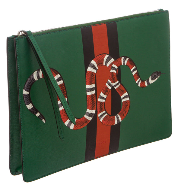 Gucci Green Leather Kingsnake Messenger Bag