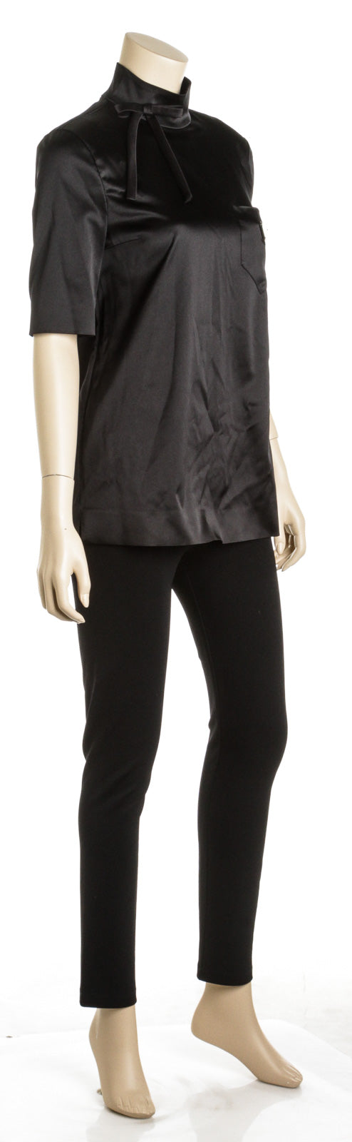 Prada Black Silk Blend Satin Mandarin Collar Blouse (Size 40)
