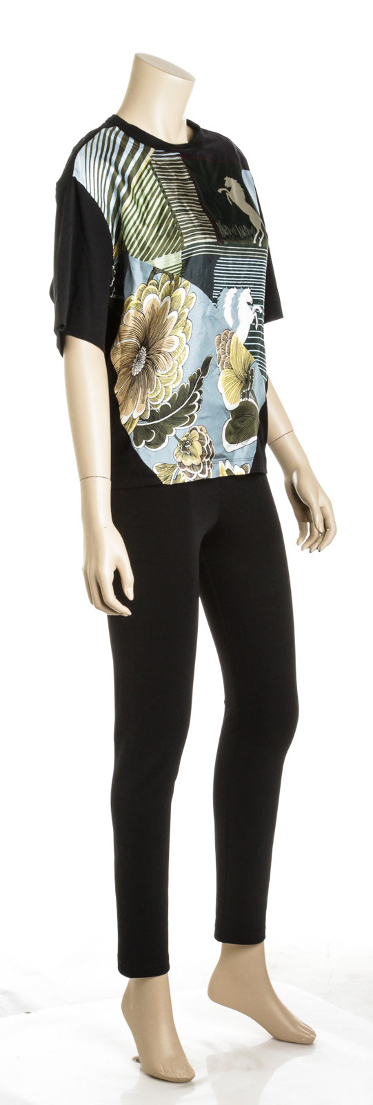 Chloe Black and Multicolor Cotton and Silk Horse Print Scarf Top (Size S)