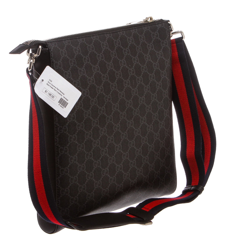 Gucci Black/Gray Night Courrier GG Supreme Messenger Bag