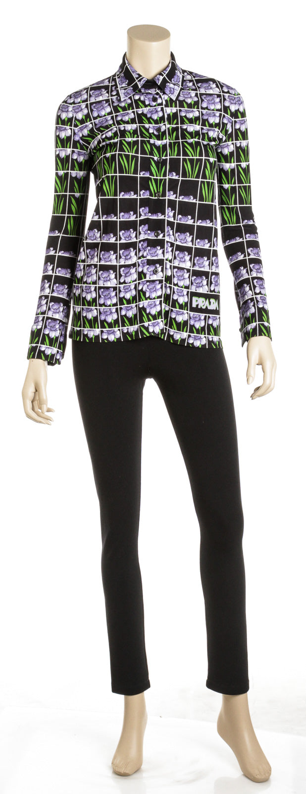 Prada Black and Purple Viscose Floral Grid Print Blouse (Size 36)