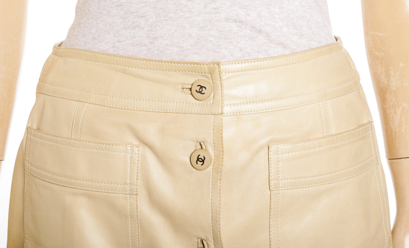 Chanel Beige Leather A-Line Mini Skirt 98C (Size 40)
