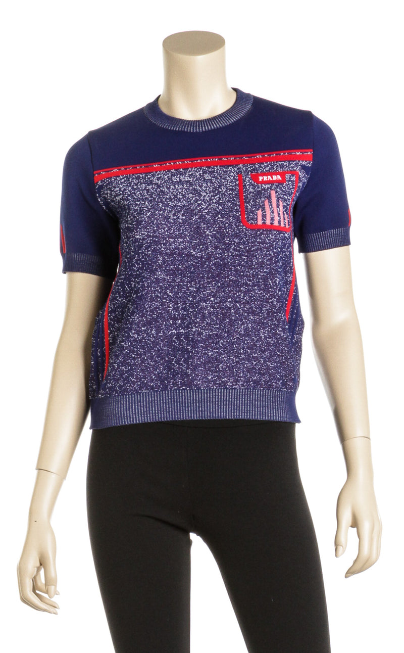 Prada Blue and Red Ribbed Knit Logo Sweater (Size 40)