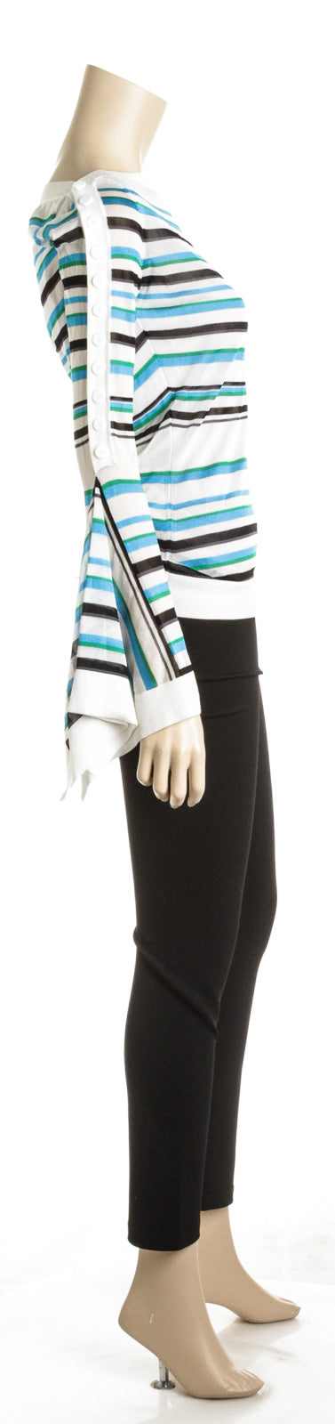 Roland Mouret 'Biboca' Sheer Striped Knit Bell-Sleeve Top (Size M)