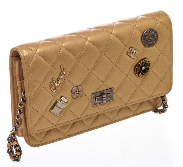 Chanel Gold Aged Calfskin Lucky Charms 15P Wallet On A Chain WOC