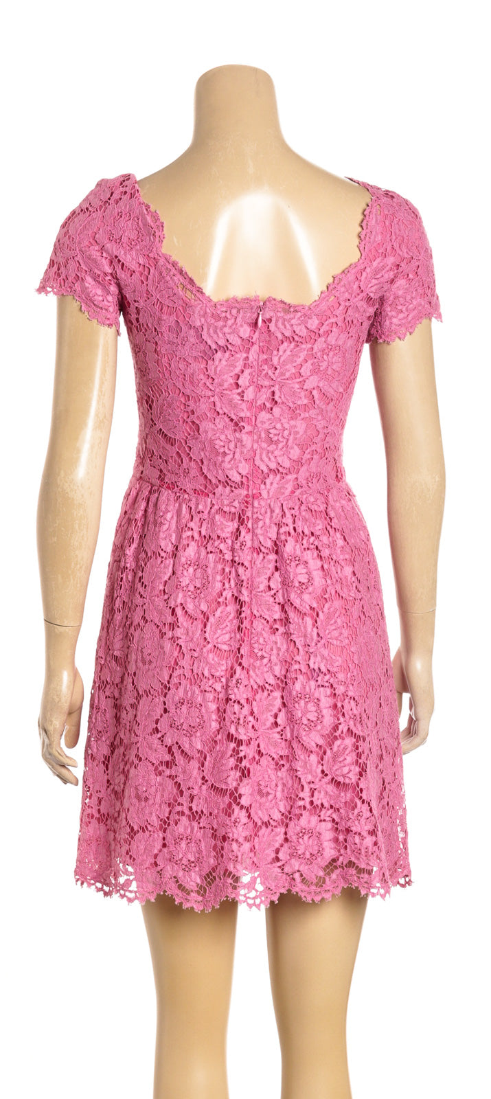 Valentino Pink Short Sleeve Lace Mini Dress (Size 40)