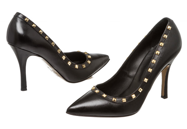 Atos Lombardini Black Leather Studded Pump (Size 39)