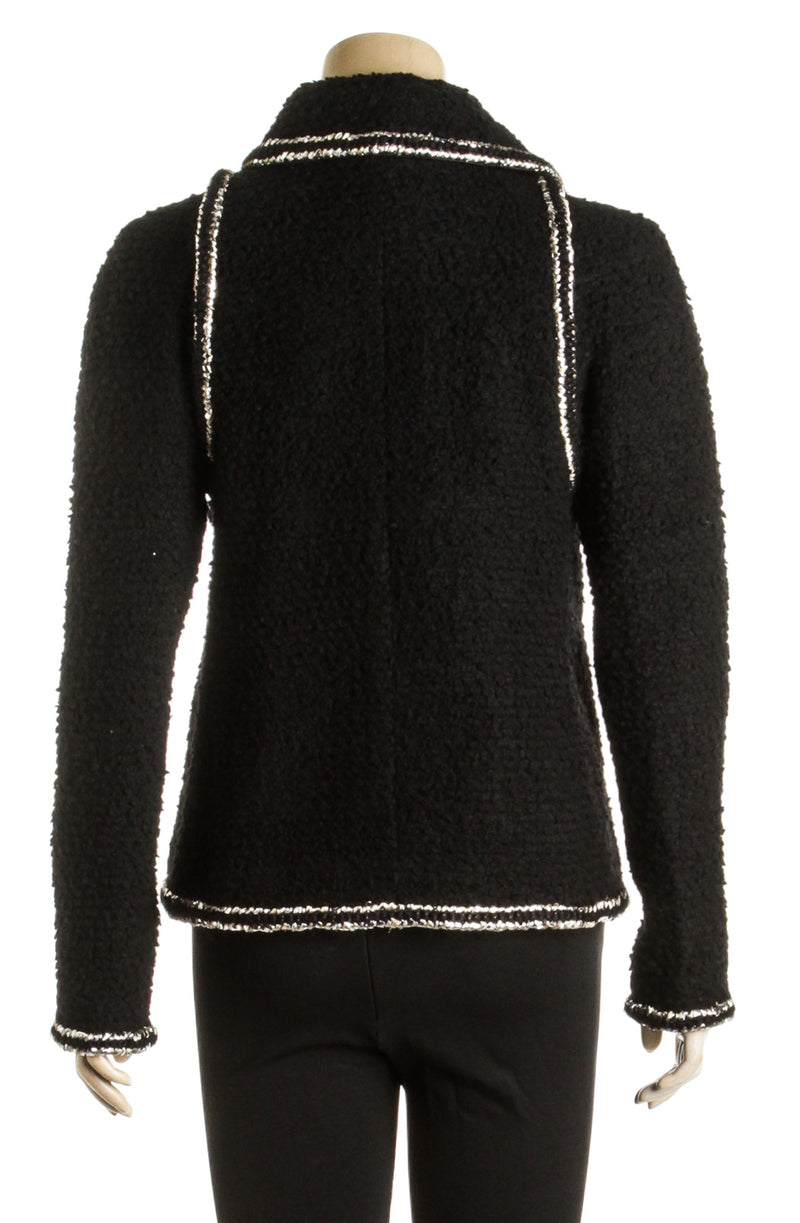 Chanel Black Tweed Long Sleeve Jacket 17K (Size 38)