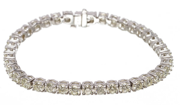 14k White Gold Four Prong Round Diamond Tennis Bracelet 10.92 ctw