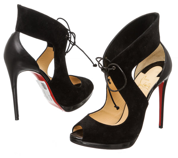 Christian Louboutin Black Suede Campania Tie-Front Sandal (Size 37.5)